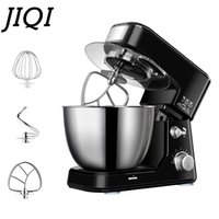 JIQI 4L Stainless Steel Bowl Electric Stand Food Mixer Cream Blender Knead Dough Cake Bread Chef Machine Whisk Eggs Beater EU US Y1201