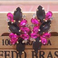매달아 샹들리에 레이디 발렌타인 데이 선물 귀걸이 Zerong 다채로운 라인 석 샴페인 / 빨강 / 자홍색 유리 돌 1pcs 섬세한 fash