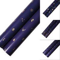 Envoltura de regalo Papel de embalaje Color metálico Impresión azul oscuro Papeles de oro 73 * 51 cm Árbol de Navidad Copo de nieve Patrón decorativo 0 66WK N2