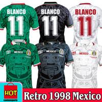 태국 품질 레트로 1998 멕시코 월드컵 클래식 빈티지 축구 유니폼 Hernandez 11 # Blanco 홈 그린 멀리 화이트 축구 셔츠