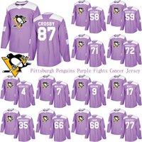 Pittsburgh Penguins Lutas Roxo Cancro Jersey 87 Sidney Crosby 58 Kris Letang 71 Evgeni Malkin 72 Patric HornQvist Hockey Jerseys