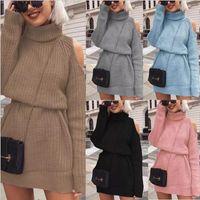 Женский свитер High шеи без бретелек вязаный свитер платье женщины осень и зима сплошной цвет тонкий длинный пуловер