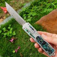 Damasco auto faca tática vg10-damasco aço Único borda tanto lâmina de ponto de tanto 6061-T6 + argalone shell alça com bainha de nylon