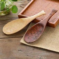 Criativo Peixe Padrão De Madeira Arroz Colher Acessórios de Cozinha Utensílio Arroz Scoop Firm Utensílios Kitchenware Wood Scoop Tools1