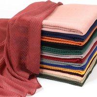 Bufandas transfronterizas al por mayor pliegues monocromáticos bali hilo otoño damas bufanda étnico viento presión arrugada hijab algodón y lino pu