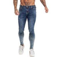 Erkek Jeans Gingtto Sıska Erkekler Slim Fit Yırtık Erkek Büyük ve Uzun Boylu Streç Mavi Sıkıntılı Elastik Bel ZM140 Için