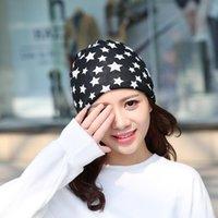 Hot Autunno Moda New Knit Cappello Berretto Berretto con Star Femminile Cappelli invernali caldi per le ragazze Donne Berryies Bonnet Cappuccio Cappuccio