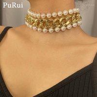 Chokers Punk corta collar grueso collar 3 unids / set Elegante cadenas de perlas barrocas elegantes Gargantillas en capas mujeres Bohemia joyería1