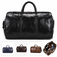Male Leather Travel Bag Large Duffle Independent Shoes Stora...