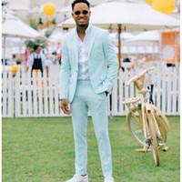 Neue Ankunft Mint grüne Männer Anzug Blazer für Party Prom 2 Stücke Jacke mit Hosen Bräutigam Hochzeit Anzüge Gegeckt Revers Herren Smoking