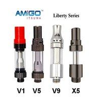 Amigo Liberty Serbatoio V1 V5 V9 X5 Cartucce per bobine ceramiche 0.5ml 1.0ml Metallo Vaporizzatore di vetro Serbatoio VS CE3 G2 A3 100% originale