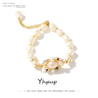 Yhpup 10mm Luxury Handmade Natural Pearl Stone Bangle Bracelet for Women Fashion Romantic Sweet Trendy Best Gift for Girl Friend Y1119