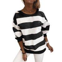 Women's Hoodies & Sweatshirts Autumn Spring Striped Casual Round Neck Women Long Sleeves Tops Wear Female Loose Pullover Streetwear Jumper