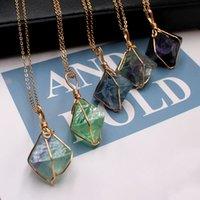 Натуральные ожерелье из ожерелья из натурального флюорита Ювелирные изделия Мода Октаэдр Цепи Подвеска Красочный Firefly Handmade Charms Новое Прибытие 7 5LG J2