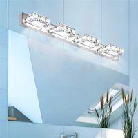 Beste Doppelleuchte Kristallfläche Badezimmer Schlafzimmer Lampe Weißes Licht Silber Nodic Art Decor Beleuchtung Moderne Wasserdichte Spiegelwand