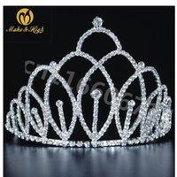 Clipes de cabelo Barrettes Meninas Tiaras e Coroas Clear Strass Cristal Casamento Conceito Prom Festa Headbands Bridal Jóias W / Pente