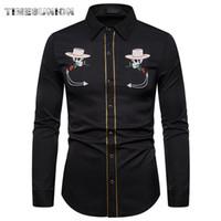Erkek Batı Kovboy Gömlek Şık İşlemeli Slim Fit Uzun Kollu Parti Gömlek Erkekler Marka Tasarım Ziyafet Düğmesi Aşağı Gömlek Erkek