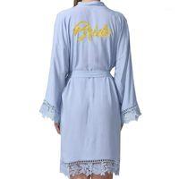 2018 New Bride Cotton Kimono Robes con adornos de encaje Mujeres Boda Robe nupcial Blanco Blanco Bathrobe1