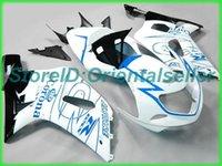 Custom Blue White AE036 Kit de Feira para Suzuki GSXR 600 750 K1 2001 2002 2003 GSXR600 GSXR750 01 02 03 Motocicleta Fairings Kit