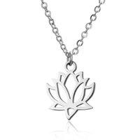 Mode Argent Couleur en acier inoxydable Fleur Lotus Forme Pendentif Collier Yoga Chakra Collier pour femme Bijoux Cadeau