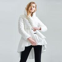 여성용 다운 파카 90 % 하얀 오리 겨울 자켓 여성 스커트 디자인 Womens 재킷 두건을 따뜻한 코트 여성 겉옷 파카 EF33881