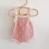 Baby Girl Strampler Rosa gestrickt Herbst Frühling Kleinkind Outfit Kleidung