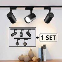 Set complet LED Track lumières 220V COB de piste de piste de piste d'éclairage de la lampe de piste 12/20 / 30 / 40W Spots lumières luminaires pour la maison de magasin de cuisine domestique