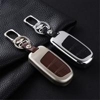 Auto Key Bag Case Shell Fob Box Cover Portabicchieri Catena Keyfob Fit For Jeep Cherokee Compass Dodge Accessori per il viaggio 2 bottoni in metallo