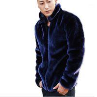 Wholesale- Mens Winter Leather Jacket Zipper Cardigan Men's Mink Coat Brand Youth Men Faux Fur Coats Motocycle Factory Direct Clothing1