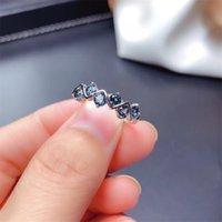 Weiable Heartfelt Style Ring Natural London Blue Topaz Кольцо S925 Стерлинговое серебро S925 Простой популярный Blue Gemstone Ювелирные Изделия Леди Кольцо 201218