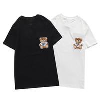 21SS 망 디자이너 티셔츠 작은 곰 인쇄 패션 파리 남자 여자 커플 캐주얼 티셔츠 블랙 화이트 스타일리스트 셔츠 크기 S-XXL