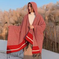 Coat Femme Hiver Hiver Cape Poncho Dames Châles Wrap Femelle Plaid Cashpmere Couverture Couverture Scarf Bufanda Mujer Tops