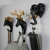 Haken Schienen Harz Tiere Kopf Aufkleber Haken Haushälterin an der Wand Badezimmer Zubehör Küchentasche Handtasche Mantel Schlüssel Halter Dekor