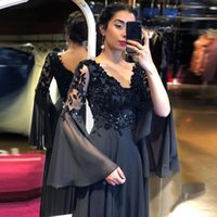 Арабские черные вечерние платья V-образным вырезом длинные вспышки рукава Applices A-Line шифон спинки выпускные платья мать невесты вечеринка платье V19
