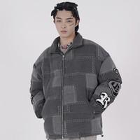 Hip Hop Parka Jacke Herren Streetwear Retro Patchwork Jacke Mantel Baumwolle Winter Warm Gepolsterte Jacke Zip Outwear Dicke