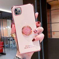 Per iPhone 12 11 Pro Max XS Max XR x 8 Plus Cassa del telefono Placcatura TPU Supporto per anello