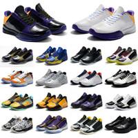 Yüksek Kaliteli Çocuklar Kadın Erkek Mamba V Lakers Sneaker 5 Yayınlanan Protro Basketbol Ayakkabı Siyah Mamba Beş Sneakers Boyutu 36-46