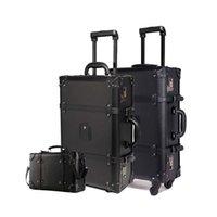 Letrend Retro Haddeleme Bagaj Seti Spinner Kadın Şifre Arabası 24 Bavul Tekerlekler 20 inç Vintage Kabin Seyahat Çantası Bagaj