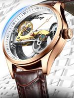 Bracelets ailang transparent squelette creux de montre automatique bande cuir bande bracelet montre-bracelet horloge open-up ouvre-travail tourbillon masculin mécanique