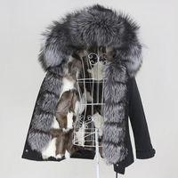 OFTBUY 2021 Kış Ceket Kadınlar Su Geçirmez Kısa Parka Gerçek Kürk Liner Coat Doğal Rakun Kürk Yaka Hood Ayrılabilir