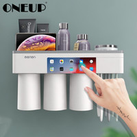 Conjunto de acessórios de banho Adsorção magnética Suporte de escova de dentes invertido com pasta de dentes Espréns Copos de banho de armazenamento de banho acessórios