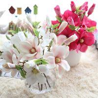 Декоративные цветы венки 1 шт. Искусственная магнолия цветочные ветви букеты симуляторы домашнее свадебное украшение поддельные