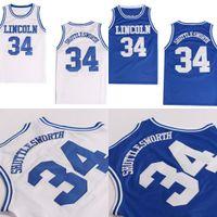Hombres de alta calidad Jesús Shuttlesworth # 34 Lincoln tiene el juego Película Basketball Jersey Blue 100% cosido Basketball Jerseys