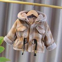 Ragazzi invernali invernali Cappotto per bambini Felpe con cappuccio di velluto per neonati per bambini Bambini Calda Outwear Abiti Toddler Dowm Parka Giacche