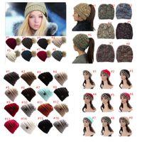 ドロップシップCCポニーテールビーニー帽子女性かぎ針編みニットキャップ冬の頭蓋骨豆の暖かい帽子女性ニットスタイリッシュな帽子ビッグキッズハット