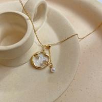 Titanium steel design cristal estrela pingente vintage simples clavícula cadeia pérola colar temperamento colar feminino