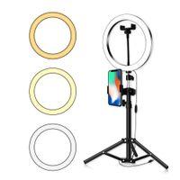 LED Ring Light 16 20 26cm 5600K 64 LEDs Selfie Ring Lamp Photographic Lighting With Tripod Phone Holder USB Plug Photo Studio