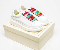[С коробкой] Классический дизайнер цвета негабаритных кроссовки Espadrille Высокая платформа белые мужчины женские туфли замшевый бархатный кожа 2021 #