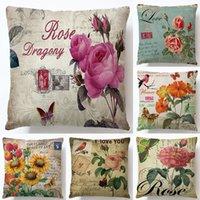 Sofás cojín cubierta flores frescas hoja de dibujos animados imitación cáñamo almohada cubierta sofá decoración para el hogar pillowcasas decorativas de alta calidad 3 8ys m2