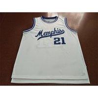Benutzerdefinierte 604 Jugendfrauen Vintage MS White # 21 Larry Finch Home Retro Basketball Jersey Größe S-4XL oder benutzerdefinierte ja name oder nummer jersey